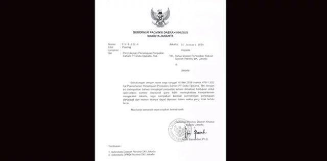 Sudah Dua Kali Anies Surati DPRD Soal Pelepasan Saham Bir