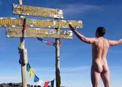 Man naked at top of Kilimanjaro