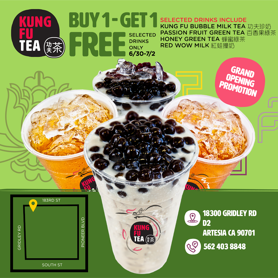 6/30 - 7/2 | Kung Fu Tea Grand Opening In Cerritos Offers BOGO Free Drinks