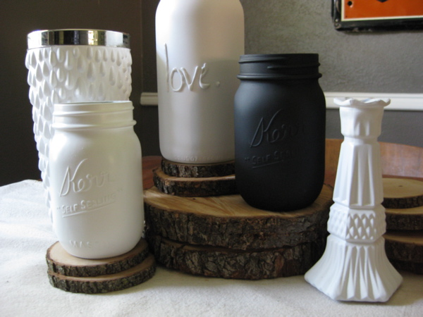 Jars painted with matte paint
