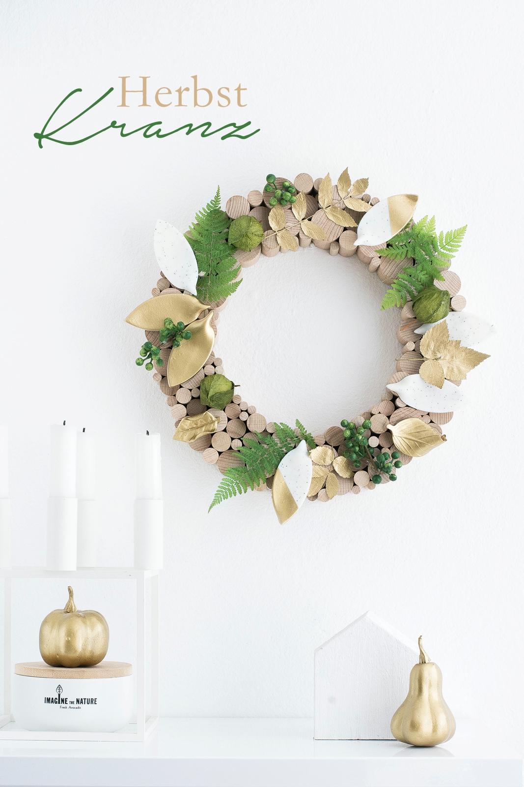 DIY Herbstkranz aus Rundstäben