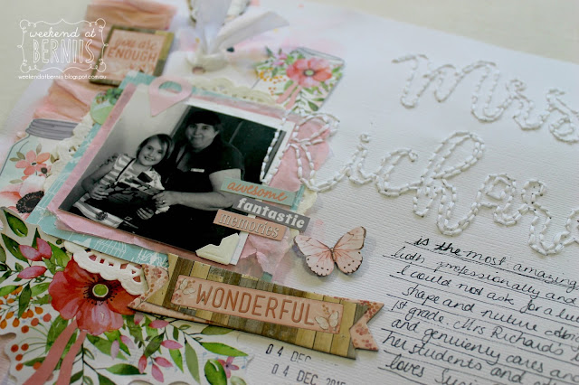 """"""" Mrs Richards"""" layout by Bernii Miller for BoBunny using the Butterfly Kisses collection."""