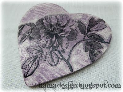 Chalk paint birdie heart flower