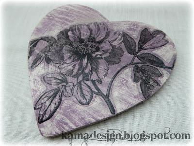 Chalk paint birdie heart flower