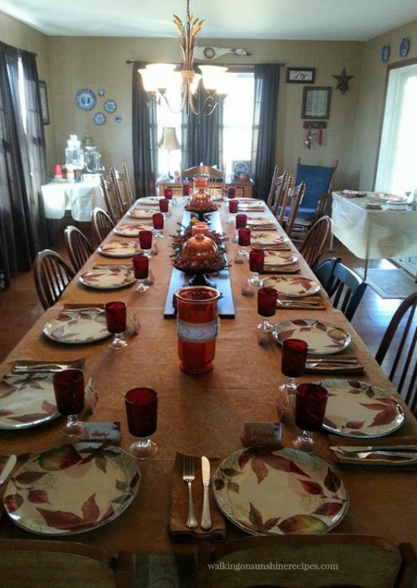 Thanksgiving Table end to end view 2015 from Walking on Sunshine Recipes