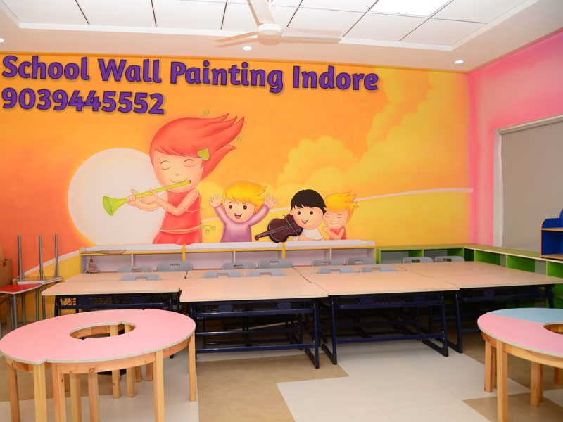 Wall Decoration In Play School : Play school wall painting and decoration