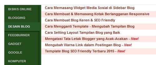 Cara Membuat Daftar Isi Blog & Menampilkannya di Menu