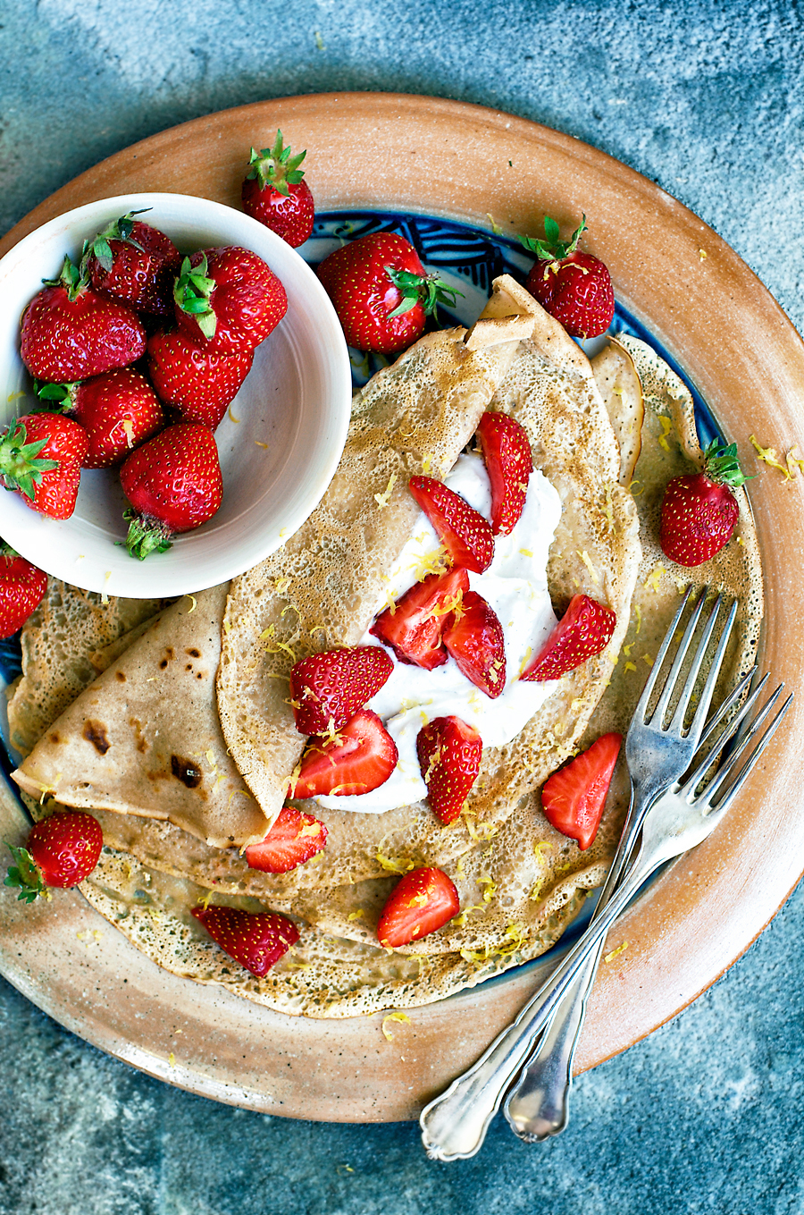 These healthy vegan crepes made with spelt flour and a little coconut sugar are surprisingly simple and easy to make. If you can make pancakes, you can make these!