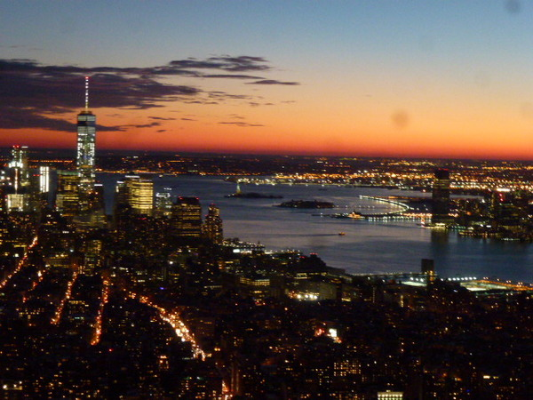 sunset from atop Empire State Building, NYC