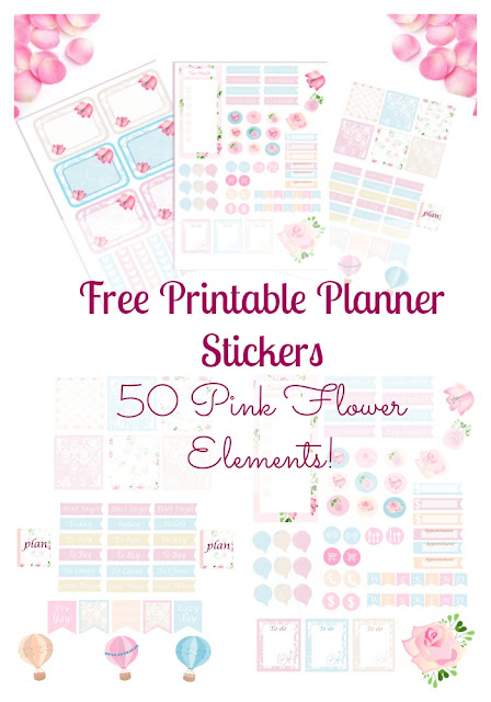 free weekly pink flower planner stickers