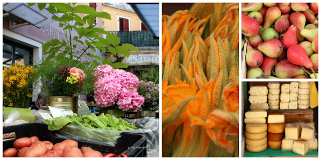 Rovinj, Croatia, Europe, farmers market, flowers, cheese, zucchini flowers, red pears.