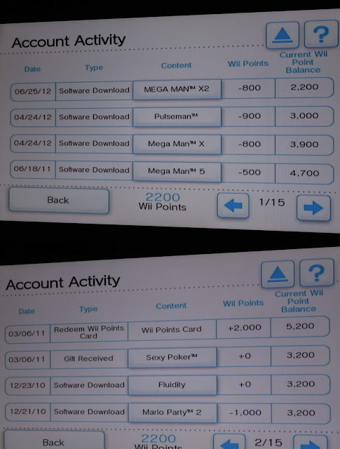 Wii Shop Channel Account Activity Wii Points card balance