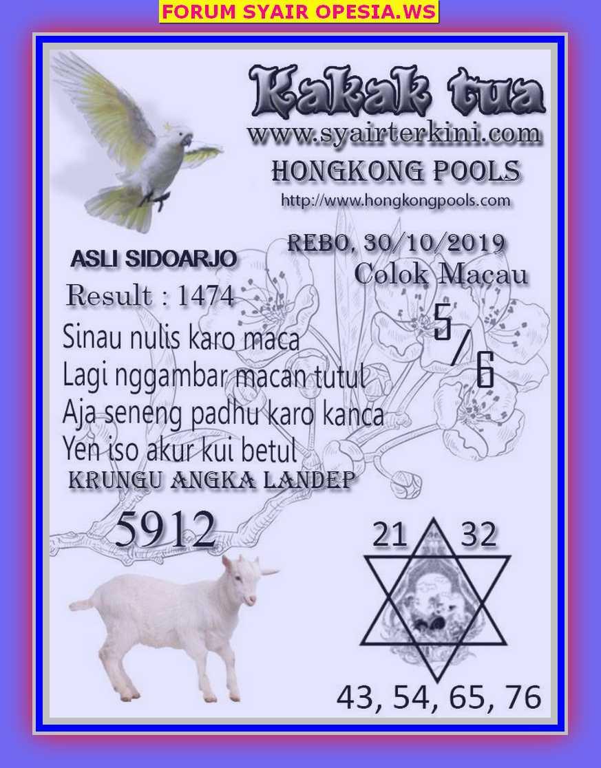 Kode syair Hongkong Rabu 30 Oktober 2019 74