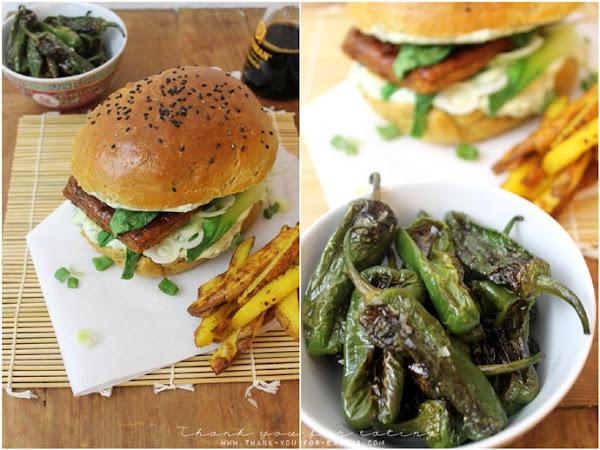Veggie Burger im Asia-Style: Mit mariniertem Tofu, Pak Choi und Koriander-Joghurt-Dip!
