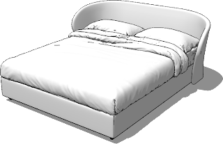sketchup model double bed #8a