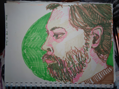 Portrait of R. Statz.  green brown pink colourful.  Alcohol ink markers in my green portrait book, 9x12 inches