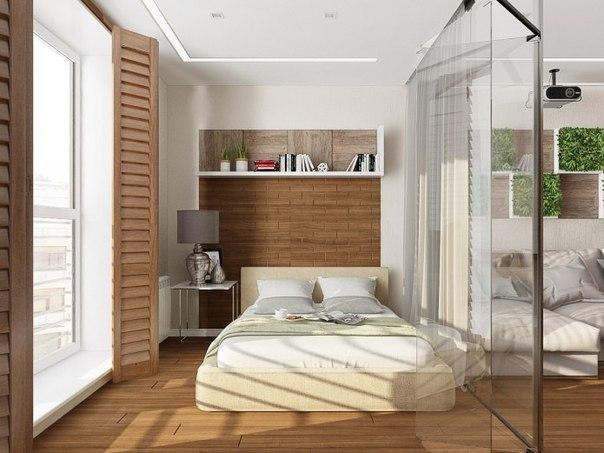 спальная комната за стеклом