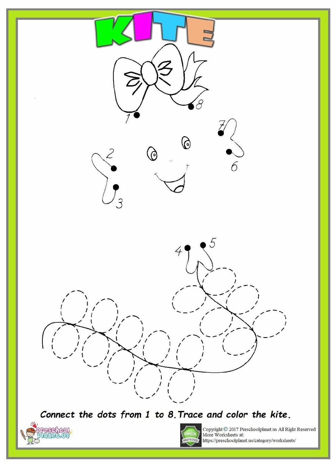 Kite Dot To Dot Worksheet