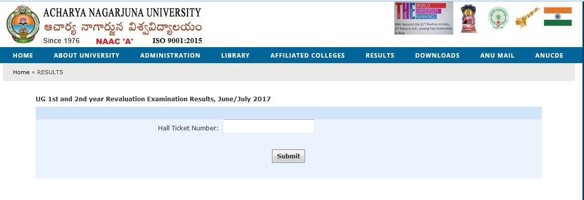 Acharya Nagarjuna University UG 1st / 2nd Yr Supply Revaluation Results