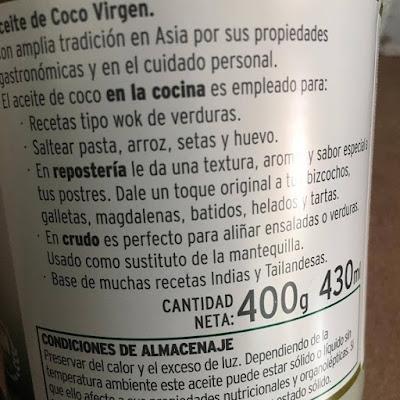 Aceite de coco, La Masía, Aceite de coco virgen extra ecológico, ácido laúrico