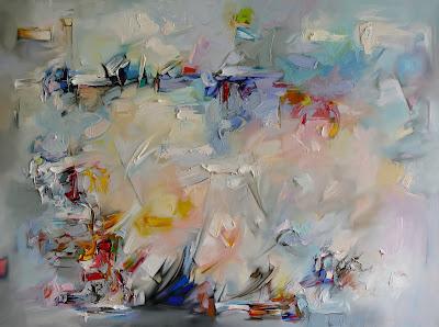 Obraz olejny na płótnie, abstrakcja w odcieniach szarości