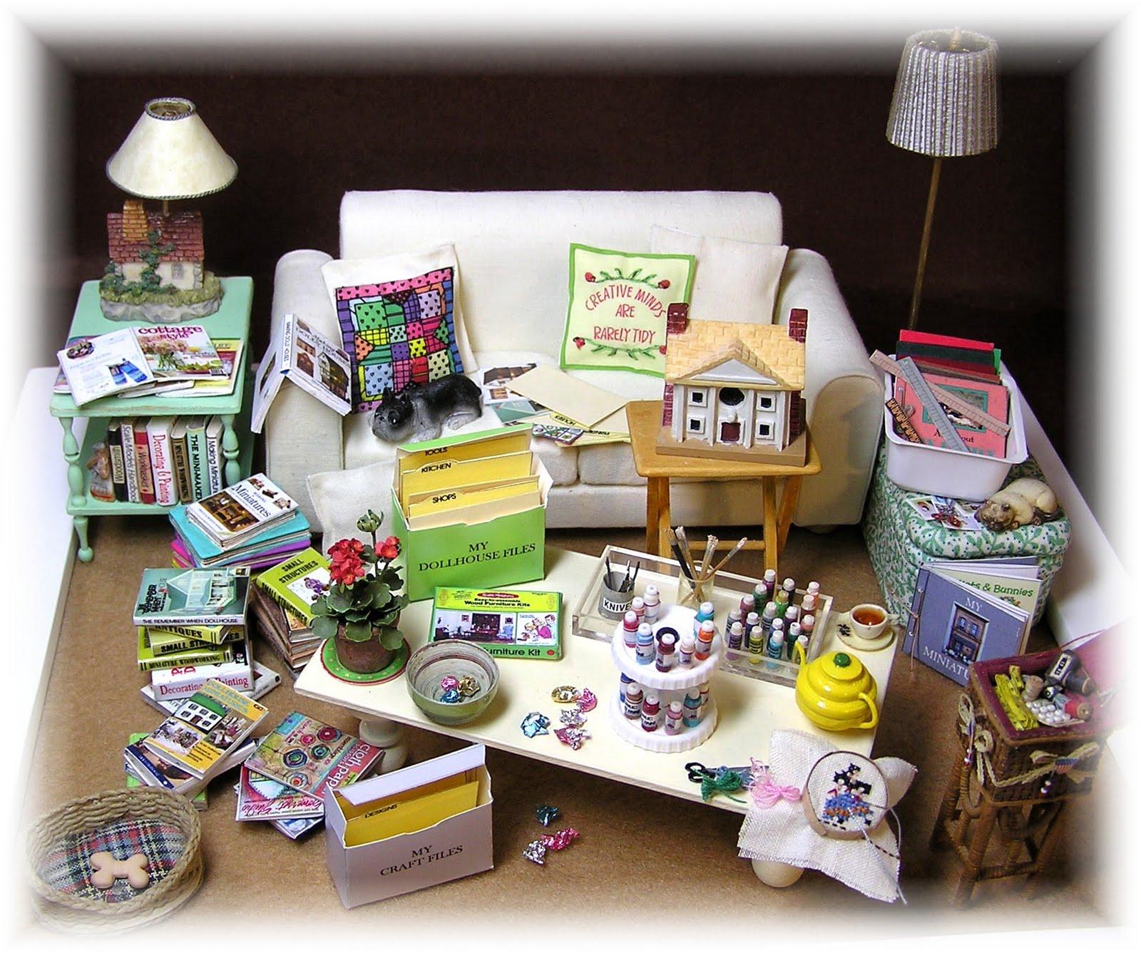 """Dollhouse Miniatures Diy: DYI DOLLHOUSE MINIATURES: """"CREATIVE MINDS ARE RARELY TIDY"""""""