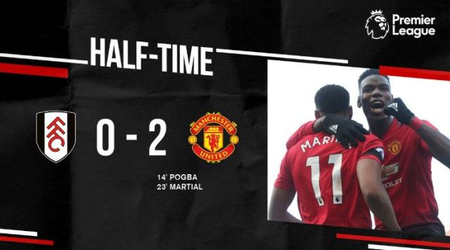 HT: Fulham vs Manchester United 0-2. Goal: Paul Pogba (14'),  Anthony Martial (23')