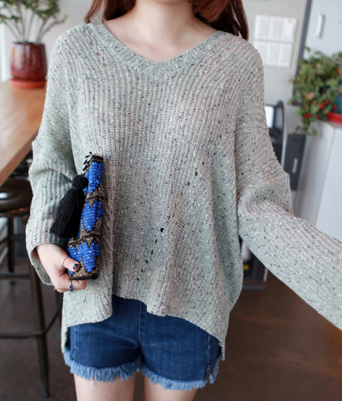 Baggy Flecked Knit Sweater