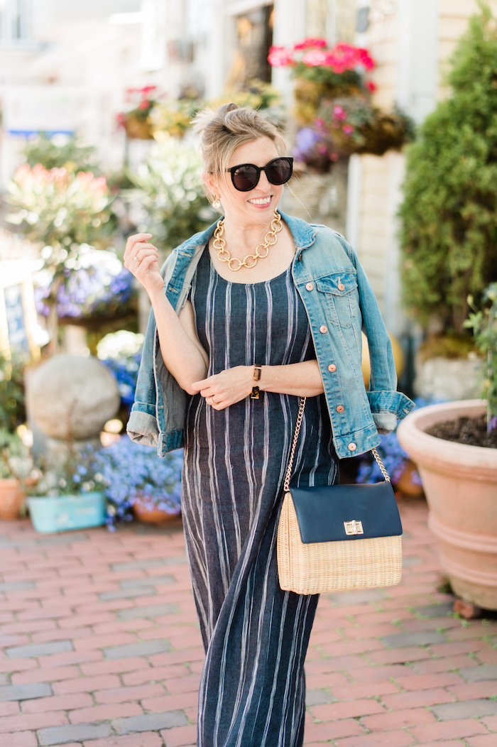 Garnet Hill Linen Tank Maxi Dress indigo salt stripe