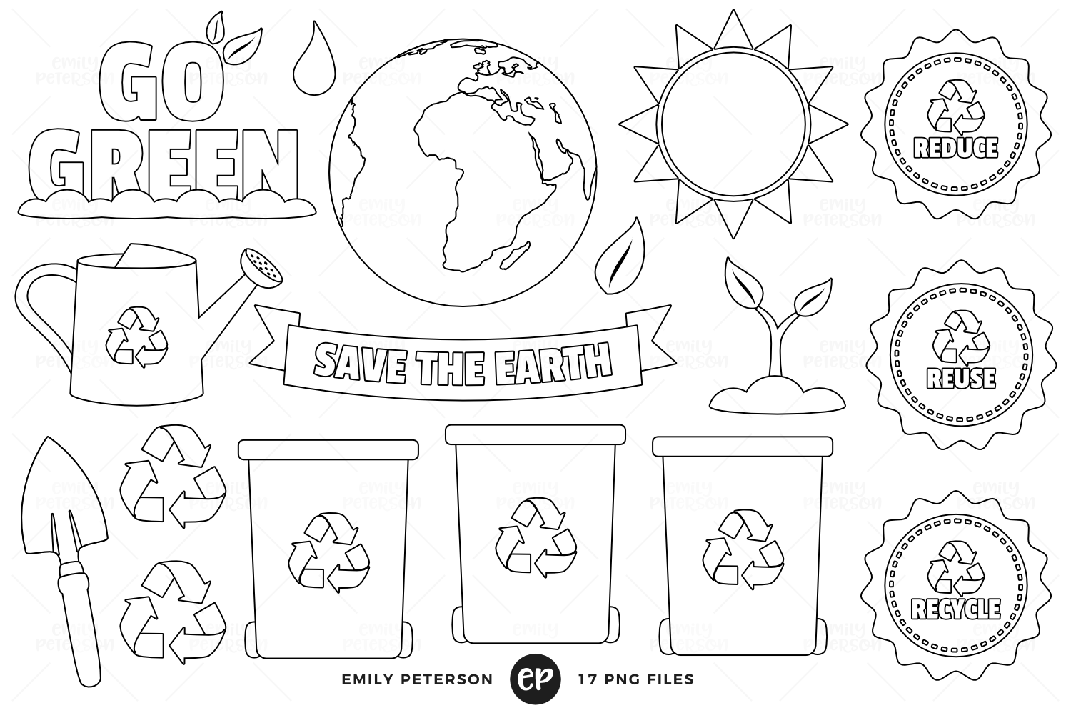 Earth Day Digital Stamps, Emily Peterson