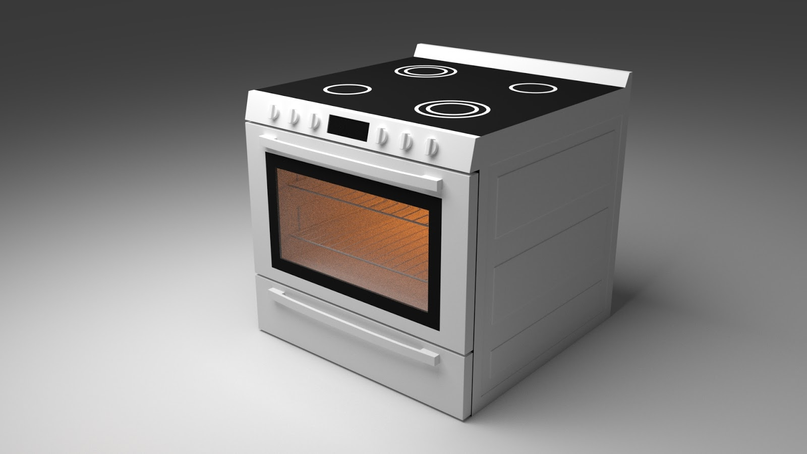 Free 3D Freestanding Electric Stove .blend file