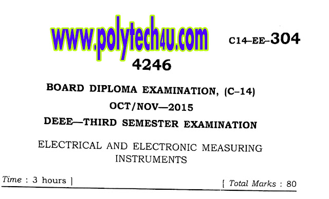 DEEE C-14 ELECTRICAL AND ELECTRONICS MEASURING INSTRUMENTS PREVIOUS QUESTION PAPER