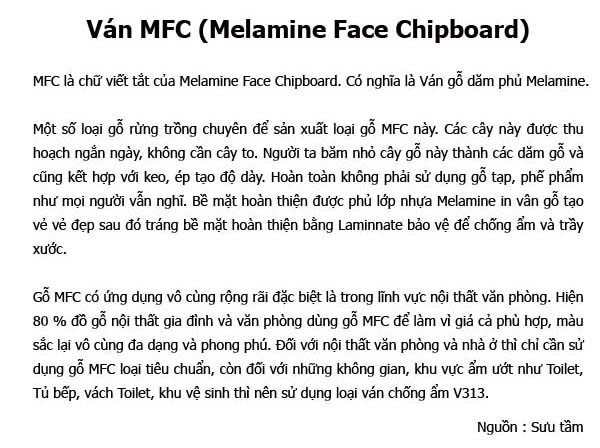 Ván MFC Melamine Face Chipboard