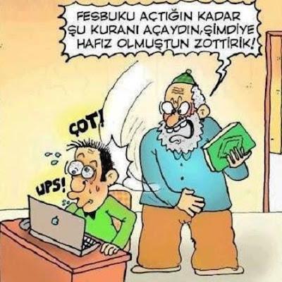 karikatür, net, internet, internet bağımlılığı, facebook, sosyal medya, Kur'an, hacı dede, komik resim, zottirik, hafız