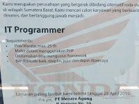 Lowonga Pekerjaan - IT Programmer padang