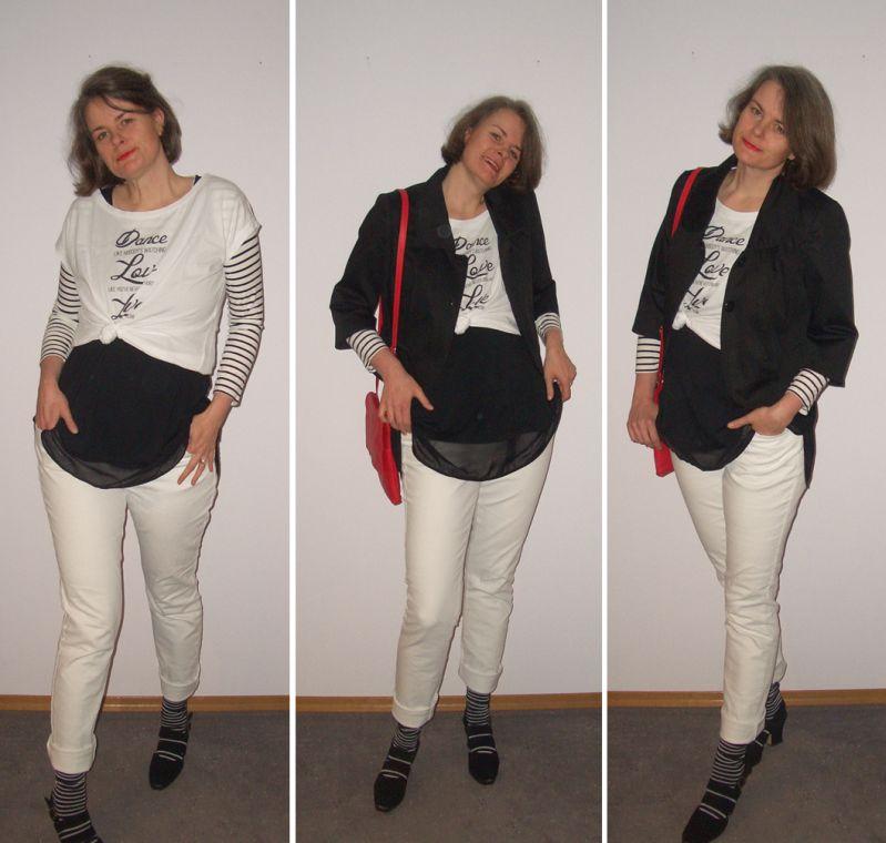 Schwarz-weißer-Layering-Look-kombiniert