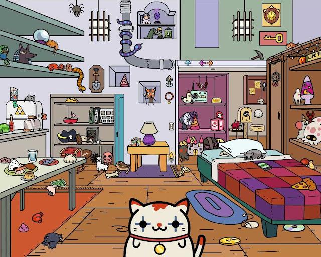 Tela que mostra o quarto do jogo Klepto Cats