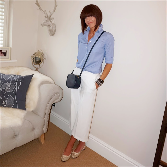 My Midlife Fashion, marks and spencer cropped culottes, j crew everyday shirt in end on end cotton, french sole henriette gold glitter ballet pumps, iris and ink leather shoulder bag