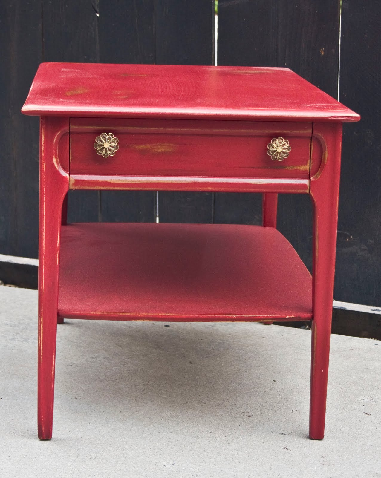 Modernly Shabby Chic Furniture Wine Red End Table Nightstand