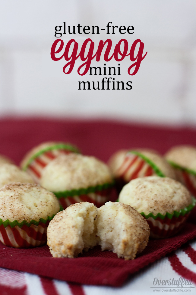 These gluten-free mini muffins highlight the holiday flavors of eggnog, nutmeg, and a bit of rum to bring you instant Christmas cheer! #overstuffedlife