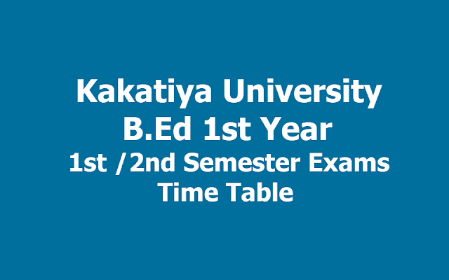 KU B.Ed 1st Year I/ II Semester Exams Time table 2019, Exams start from May 18