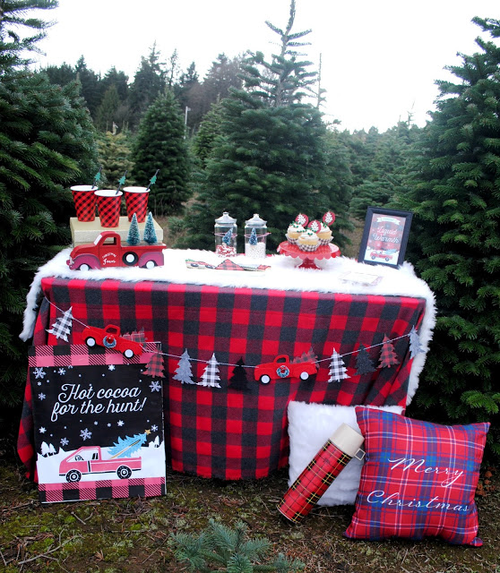 Fueling up with hot cocoa while searching for the perfect Christmas Tree. On FizzyParty.com