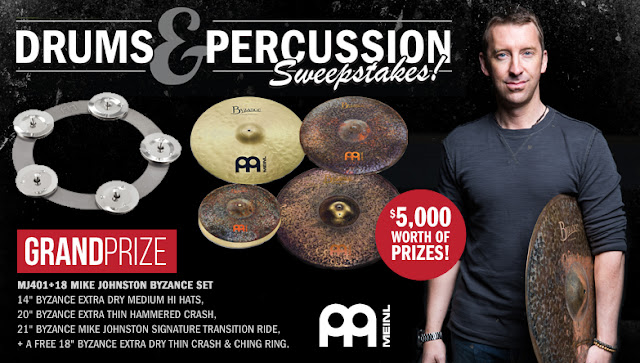Interstate Music wants you to enter once for the chance to win a drum and percussion enthusiasts dream prize, the Mike Johnston Byzance Drum or Cascio Gift Cards!