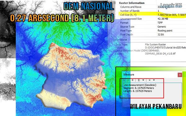 DEM Nasional 0.27 ArcSecond (8.1 meter) Wilayah Pekanbaru