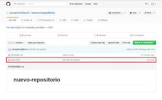 Visualización de los archivos subidos al repositorio github