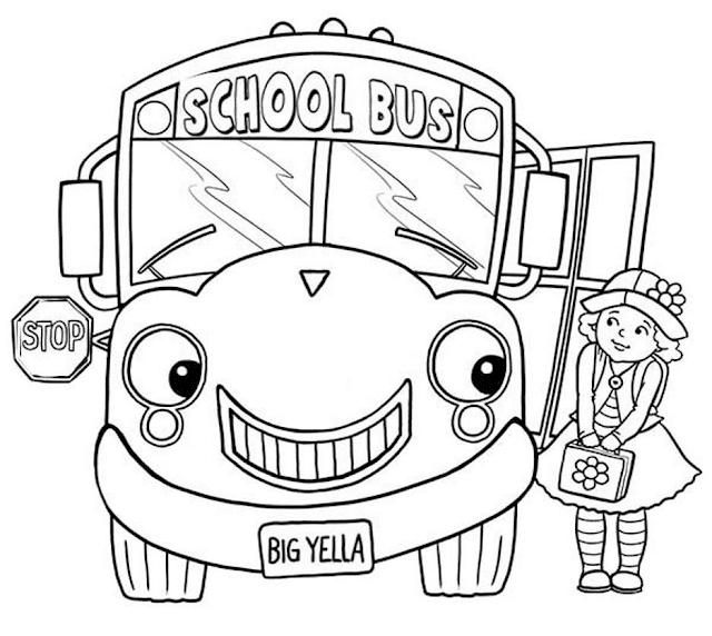 Gambar Mewarnai Bus Sekolah - 3
