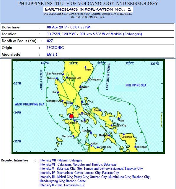 Magnitude 5.6 earthquake shakes Metro Manila