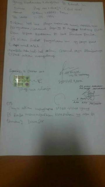 Surat Pernyataan Maaf Gus Nur pada Banser dan NU Beberapa waktu Lalu