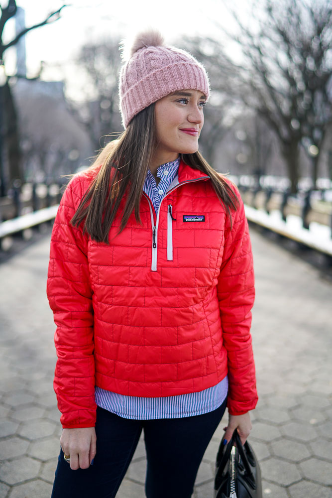 Krista Robertson, Covering the Bases,Travel Blog, NYC Blog, Preppy Blog, Style, Fashion Blog, Travel, Fashion, Style, NYC, Patagonia, Central Park, Winter Jackets, Bright Colored Coats, Warm Clothes, ASOS