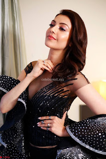 Kajal Aggarwal sizzles in Black Deep Neck Dress ~  Exclusive 006.jpg